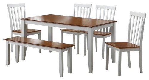 Boraam 22034 Bloomington 6-Piece Dining Room Set, White/Honey Oak