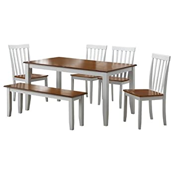 Boraam 22034 Bloomington 6-Piece Dining Room Set, White/Honey Oak