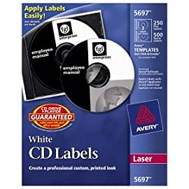 Avery CD/DVD and Jewel Case Spine Label. 125-SHEETS WHITE CD/DVD LABELS 2 UP FOR LASER PRINTERS LABELS. 250 Label - 2/Sheet - Laser - White