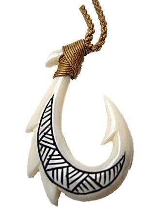 Carved bone hawaiian tribal tattoo fish hook for Hawaiian fish hook