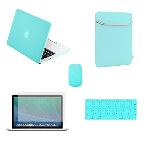 TOP CASE - 5 in 1 Bundle Deal Pro 13-Inch Ultra Slim Light Weight Rubberized Hard Case, Keyboard Cover, Screen Protector, Sleeve Bag and Mouse for MacBook Pro A1278 - Hot Blue (Macbook Pro 13 Sleeve Light Blue compare prices)