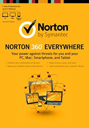 Norton 360 Everywhere - 1 yr Protection for up to 5 Devices [Old Version]
