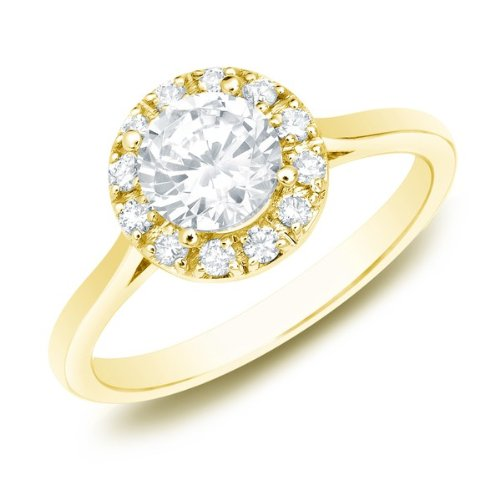 0.58 Carat Halo Affordable Engagement Ring with Round cut Diamond on 14K Yellow gold