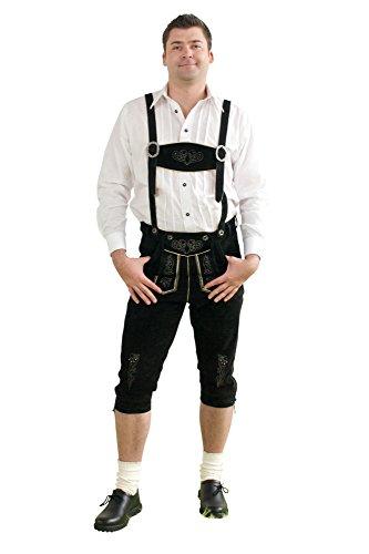 Herren Trachten Kniebundhose schwarz aus feinstem Rindsveloursleder Gr. 44-68 thumbnail