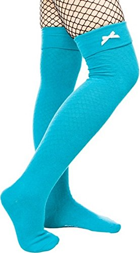 "Teal with White Bow 20"" Long Thigh High Socks from Sourpuss Clothing"