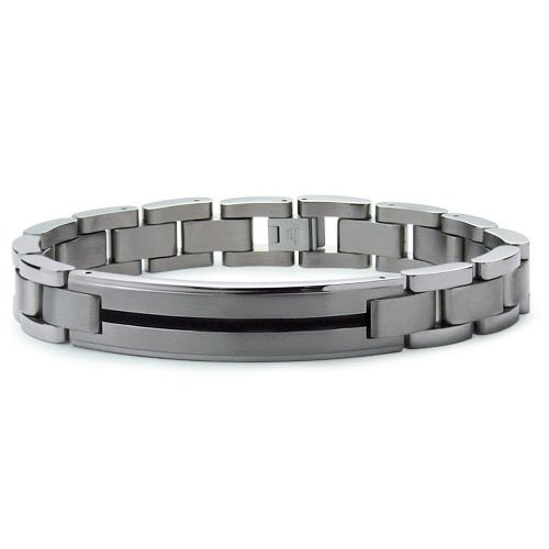 Titanium Men's Link Bracelet with Black Resin Inlay 8.5 Inches