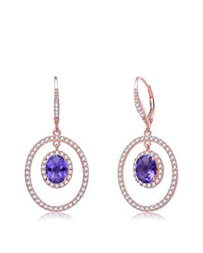 Megan Walford Blue CZ Rose-Tone Sterling Silver Oval Drop Earrings