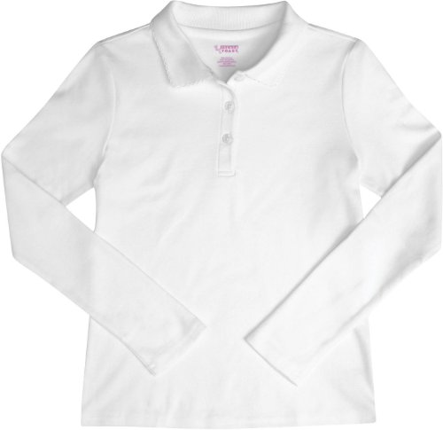 French Toast School Uniforms Ls Interlock Knit Polo Picot Collar Girls White 2T front-899228