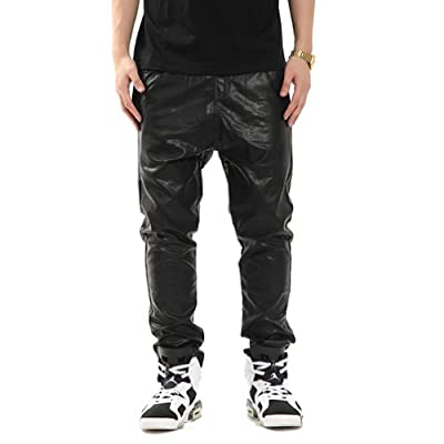 Zero Quality Men's Faux Leather Casual Elastic Pants