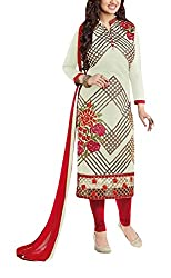 Sara Fashion Women's Georgette Unstitched Dress Material (Off-White and Red)