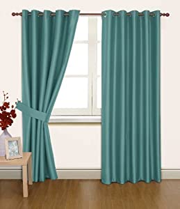 Blue Faux Silk 66x54 Thermal Lined Blackout Heavyweight Ring Top Curtains by PCJ Supplies