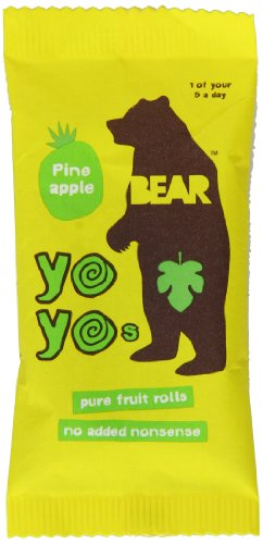 Bear Yoyo 100 Percent Fruit Rolls Pineapple 20 g (Pack of 18)