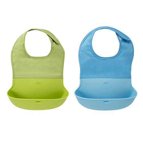 oxo-tot-silicone-roll-up-bib-with-comfort-fit-fabric-neck-2-piece-aqua-green
