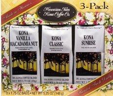 Hawaiian Isles Kona Coffee Gift Box 3 Bags 1.75 oz. Each