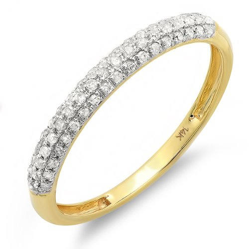 0.25 Carat (ctw) 14k Yellow Gold Round White