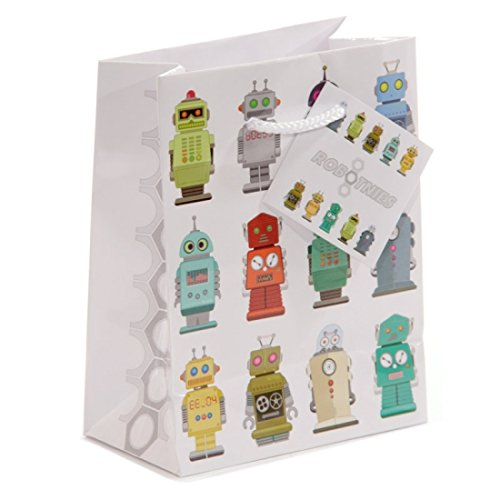 """Geschenktasche """"Roboter"""" aus Papier mit Kordel - klein"""