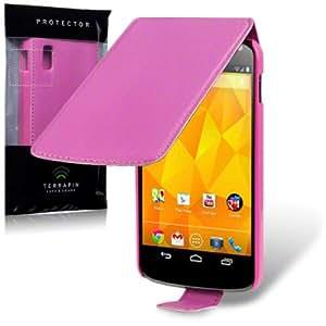 LG NEXUS 4 E960 HANDY LEDER TASCHE CASE HÜLLE, TERRAPIN RETAIL VERPACKUNG (PINK)