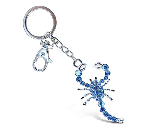 Puzzled Blue Scorpion Sparkling Charm Keychain
