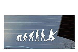 Evolution of man cricket car window sticker - White from Shaw Print