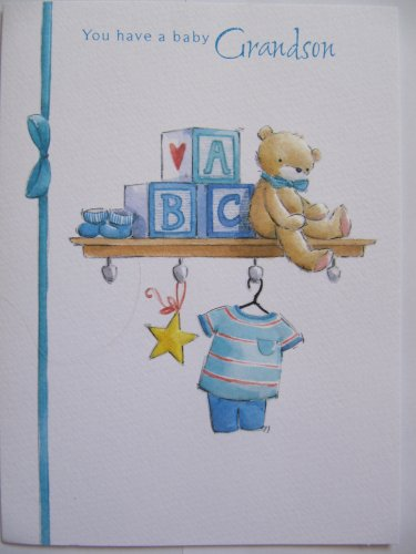 LOVELY COLOURFUL TEDDY ON THE SHELF YOU HAVE A BABY GRANDSON GREETING CARD