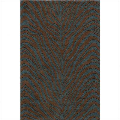 Deco Zebra Teal Blue Contemporary Rug Size: Round 8'