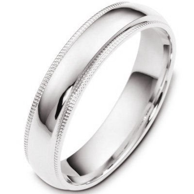 10K White Gold, Comfort Milgrain Wedding Band 5MM (sz 8.5)