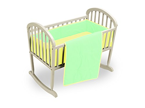 Baby Doll Reversible Cradle Bedding, Mint/Yellow