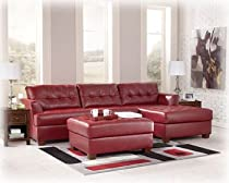 Hot Sale Right Facing Red Leather Sectional and Ottoman by Ashley Furniture