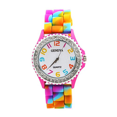 Angelo Caro New Geneva Rainbow Crystal Rhinestone Watch Silicone Jelly Link Band (Silicone Jelly Watch For Men compare prices)