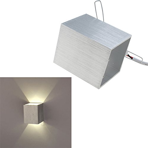 Agptek Modern Aluminum 3W Warm White Led Square Wall Lamp Black Shell Hall Porch Corridor Walkway Living Dining Room Light Bedroom Light Fixture Silver Shell