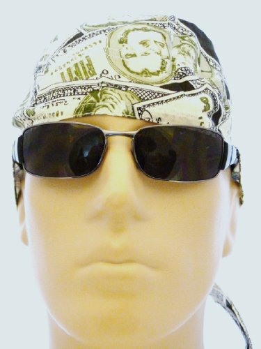Cash Money Bikers Cap/ Head Wrap/ Medical Cap/ Bandana, U.S. Money Scrub Hat, Dollar Bill Skull Cap, Benjamins Bikers Cap, Cash, Welder's Cap, Dead Presidents Du Rag, Benjamins Doo Rag, Bandana, Rappers Cap, Money, Cash, Benjamin Franklin, $100 Bill Design in Olive Green, Ivory and Black, Breathable 100% Cotton, One Size to Fit Men, Women and Teens, Suitable for Cancer Patients, Survivors, Athletes, Medical, Welding, Healthcare, Bikers, Truckers, Painters and Food Workers to Keep Hair Out of Face