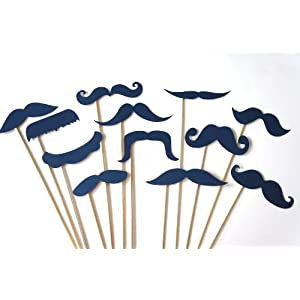 Photo Booth Props - Set of 12 NAVY BLUE Mustaches on a stick - Photobooth Props