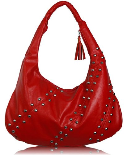 Ladies Red Studded Hobo Designer Shoulder Handbag