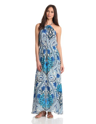 Madison Marcus Women's Halter Maxi Dress, Ocean Blue, X-Small