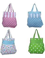 Home Pluss 4 Piece Women's Casual Fancy Bag( Multicolor, Polka Dot & Star)