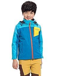 Makino Boy\'s/Gril\'s Hooded Waterproof Fleece Jacket 1247-3 Sea Blue and Sky Blue Large