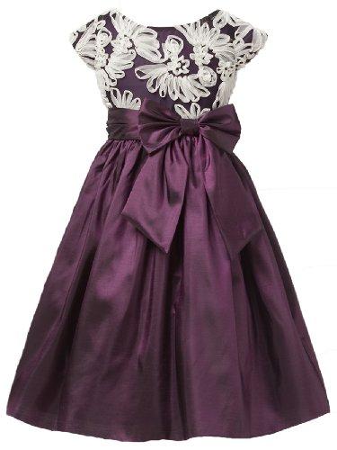 Sweet Kids Girls Fan Embroidered Mesh Taffeta Flower Girl Dress 8 Plum (Sk 441)