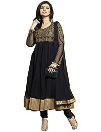 Surat Tex Black Color Designer Embroidered Georgette Net Semi-Stitched Anarkali-F301DL2040HA