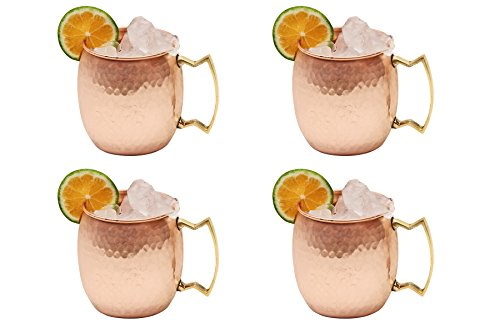 Hammered Moscow Mule Solid Copper Mug / Cup, 16 Ounce, Set of 4
