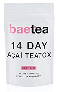 Baetea Acai Weight Loss Tea: Detox, Body Cleanse, Reduce Bloating, & Appetite Suppressant, 14 Day Acai Teatox, with Acai Berry, Goji Berry, Hibiscus Flower, Ultimate Way to Calm and Cleanse Your Body from Baetea