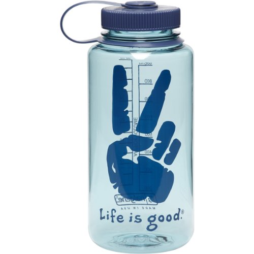 Life Is Good Unisex Peace Sign Water Bottle Blue O/S front-579787
