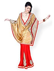 Chirag Sarees Crepe Saree In Beige Red Colour For Party Wear