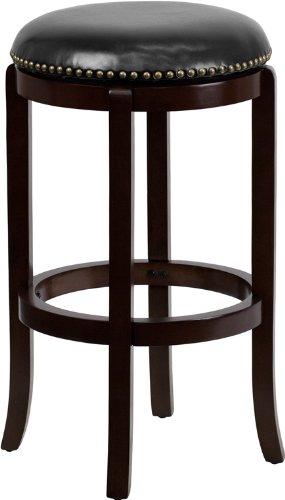 Flash Furniture TA-68929-CA-GG Backless Cappuccino Wood Bar Stool with Black Leather Swivel Seat, 29-Inch