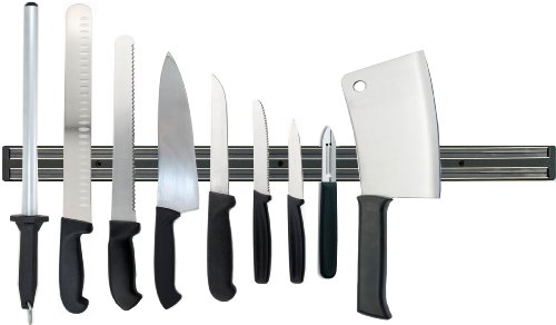 DELUXE KITCHEN KNIFE SET BY DOLOMITEN INOX INCLUDES MAGNETIC RACK, CLEAVER AND DIAMOND STEEL!