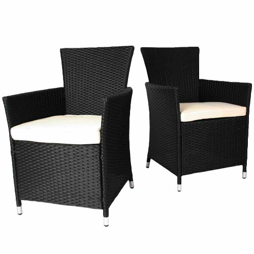 1 miadomodo rtst03 2schwarz polyrattan st hle inkl sitzkissen 2er set g nstig gartenm bel set. Black Bedroom Furniture Sets. Home Design Ideas