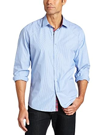Stone Rose Men's Button Down Woven Fabric Bias Cut Ribbon Dress Shirt, Blue Bengal Stripe, 3
