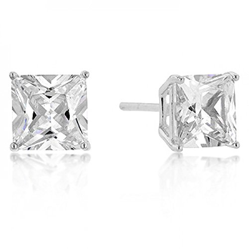 Genuine Rhodium Plated 7Mm Princess Cut Sterling Studs Polished Into A Lustrous Silvertone Finish