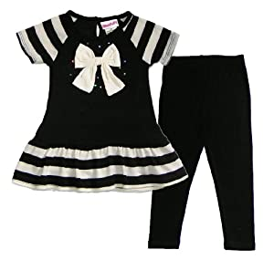 Flapdoodles Toddler Girls 2T-4T Black Ivory Stripe Bow Sweater Top Leggings Set