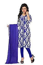 Kavya Trend Women's American Crepe Dress Material (Blue and White)