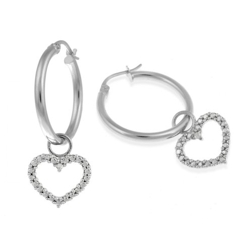 Sterling Silver Heart Drop with Diamond-Accent Hoop Earrings (0.8